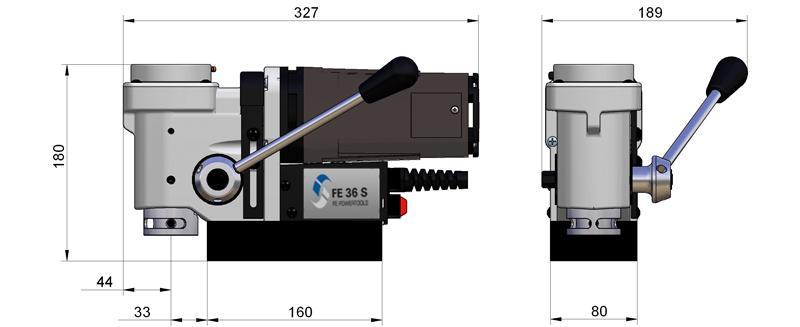 FE 36 S manyetik matkap modeli , yükseklik olarak dar yerler içindir. Makina boyutları resimde görülmektedir.